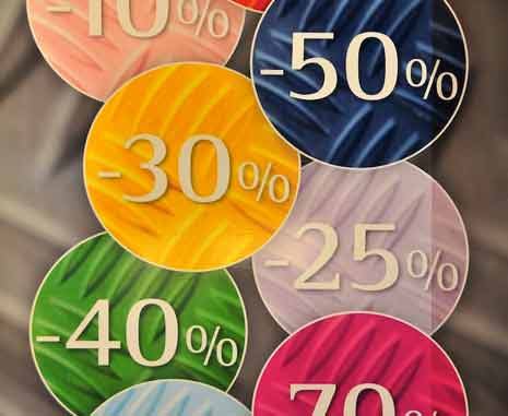 Buttons offering various percentage based discounts