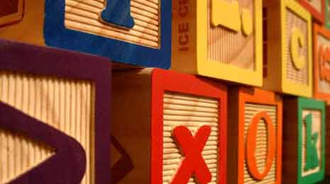 Closeup of children's blocks