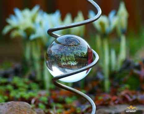 Glass ball with upside down garden reflection