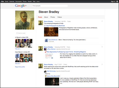 Screenshot of Steven Bradley's Google+ profile