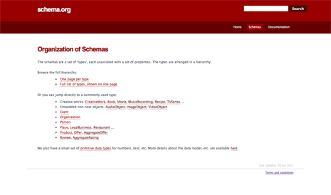 Screenshot from the schema.org website