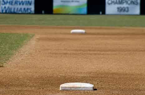 Imaginary line between bases on a baseball diamond