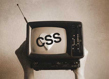 CSS displayed inside an old black and white tv