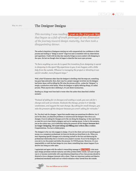 Screen shot of a page on Andy Rutledge's Design View site