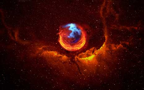 Mozilla Firefox logo superimposed over image of a space nebula