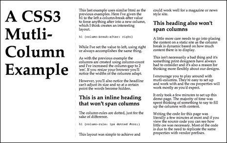 Screenshot from multi-column layout demo showing a column-break-after the heading in the leftmost column