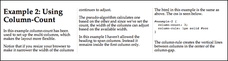 Screenshot from multi-column layout demo using column-count to create the columns
