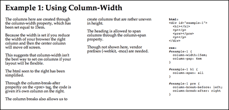 Screenshot from multi-column layout demo using column-width to create the columns