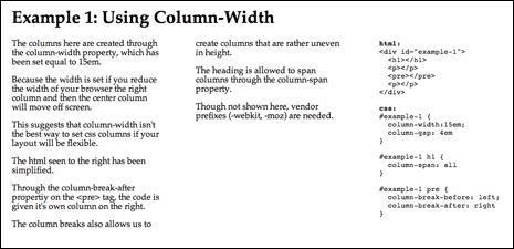 Screenshot from multi-column layout demo using column-width to create the columns