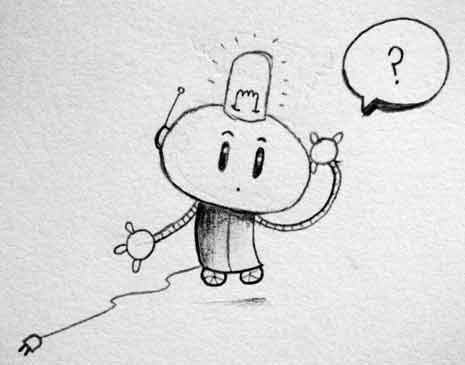 Line drawing of a robot with a question mark in a thought bubble