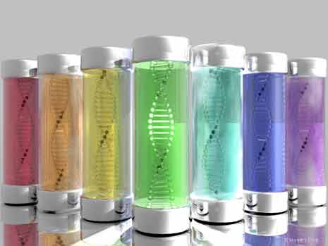 DNA strands in rainbow colored canisters