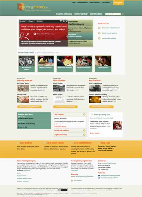Screen shot of home page of TeachingHistory.org