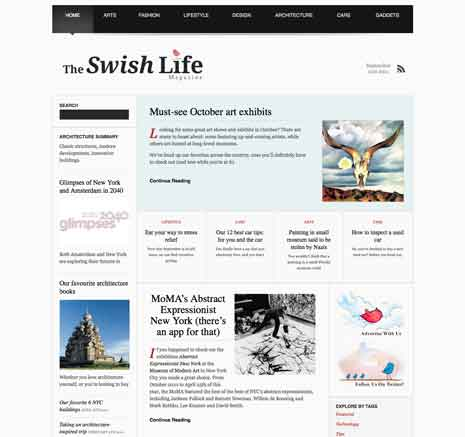Screen shot of home page of The Swish Life Magazine website
