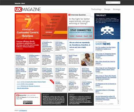 Screen shot of the home page of the UX Magazine website