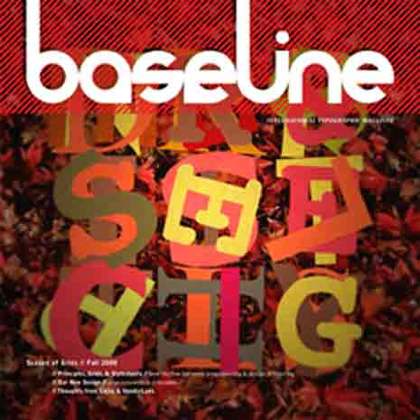 Cover for baseline Magazine showing random letters aligned to a baseline