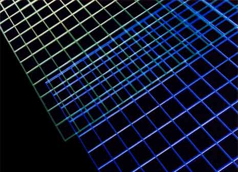 Machined acrylic grids edgelit with neon to form an abstract composition