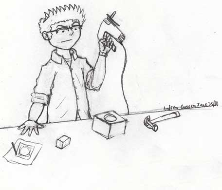 Drawing depicting someone tryng to use power tools to force a square peg into a round hole