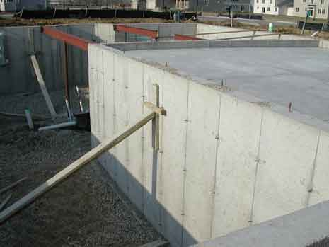 Concrete foundation of a building under construction