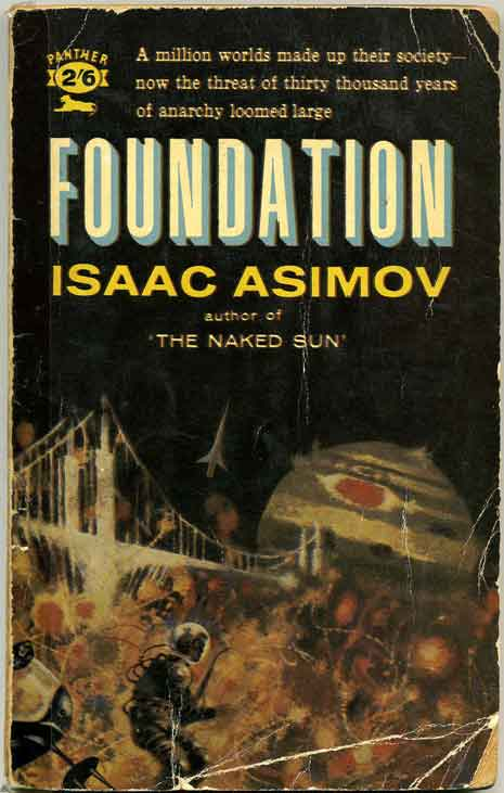 Worn book cover for Isaac Asimov's Foundation