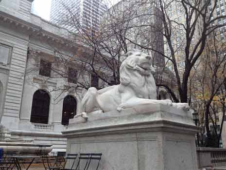 Lion guarding New York Public Library
