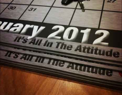 Closeup of January 2012 calendar