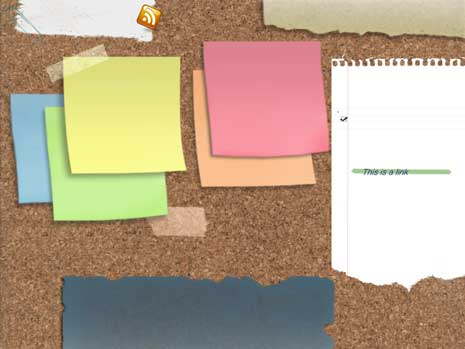 Blog corkboard design featuring post it notes