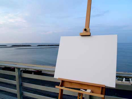 Blank canvas with ocean in the background
