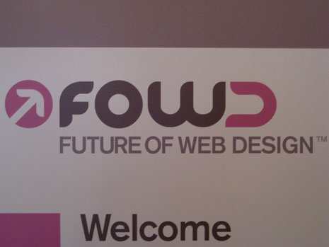 Welcome sign from the Future Of Web Design conference