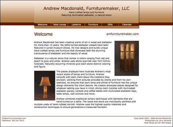 Screenshot of amfurnituremaker.com home page
