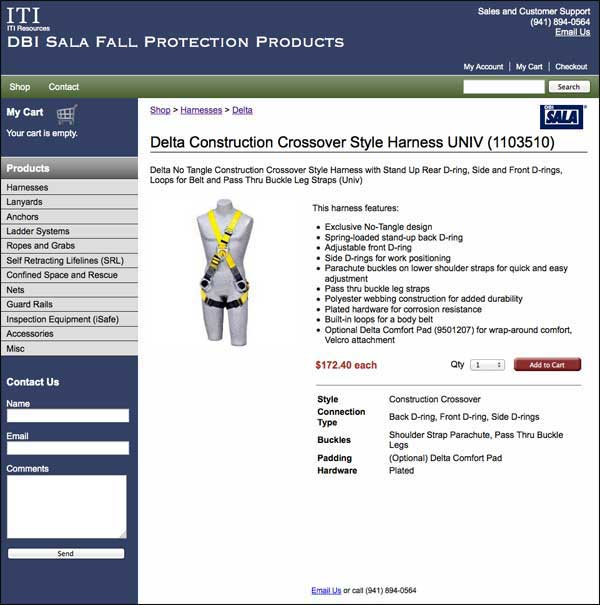 Screenshot of forthcoming DBI Sala Safety website