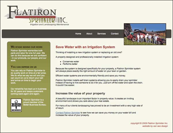 Screenshot of flatironsprinkler.com home page