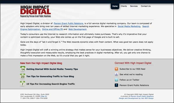 Screenshot of http://highimpactdigital.com/ home page