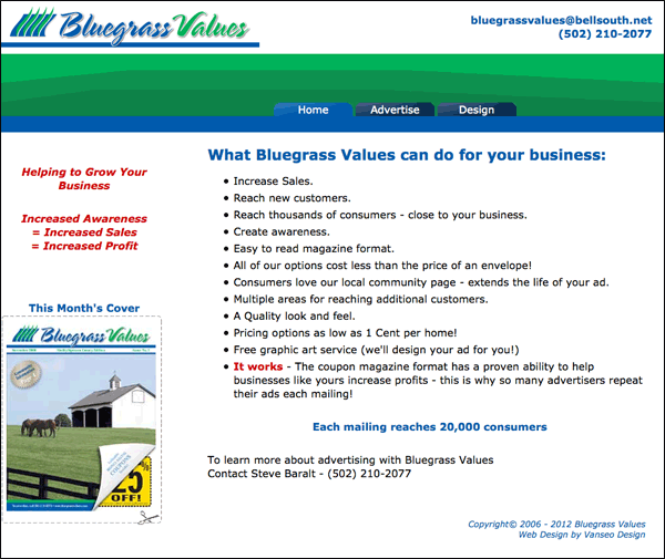 Screenshot of bluegrassvalues.com home page