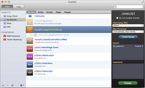 Main interface of the CodeKit application