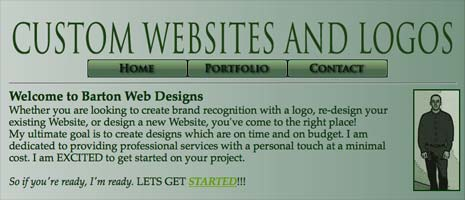 Barton Web Designs monochomratic green color scheme