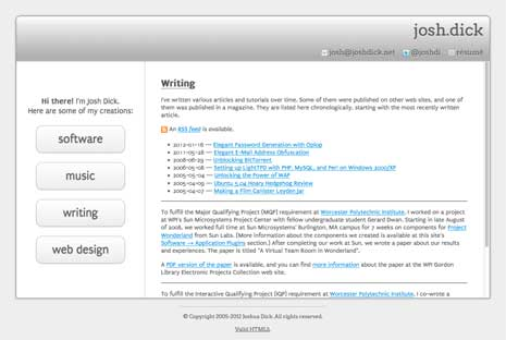 Screenshot of the writing page from Josh Dick's website
