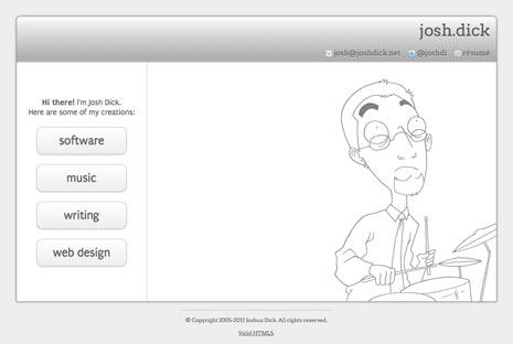 Screenshot from home page of joshdick.net