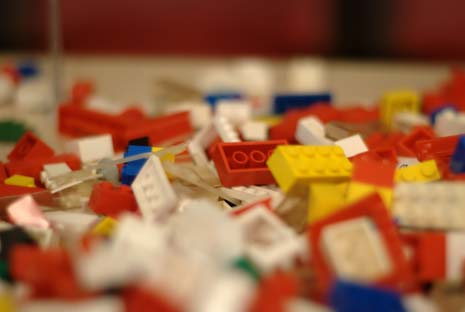 Lego blocks scattered on a table