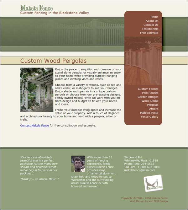 Screenshot of Makela Fence home page