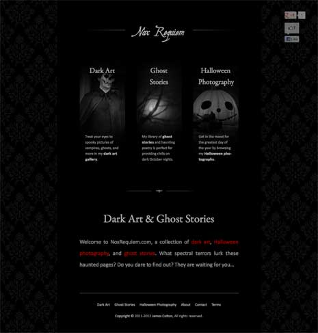 Screenshot of Nox Requiem home page