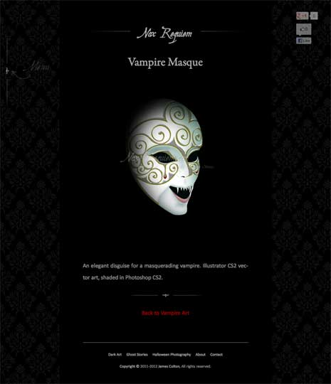 Screenshot of the vampire mask image page from the Nox Requiem website