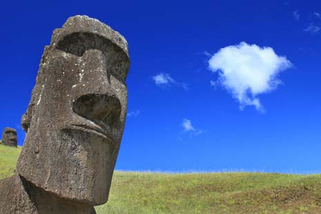 Moai carved from volcanic rock with clouds forming a thought bubble