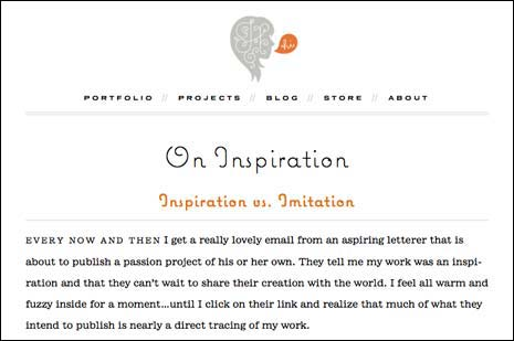 Screenshot of a blog post on Jessica Hische's site at around 730px