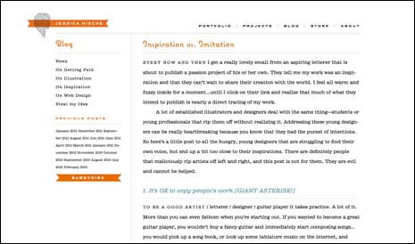 Screenshot of a blog post on Jessica Hische's site