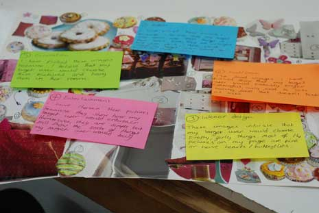 Moodboard: collage of magazine images and notes on colored index cards