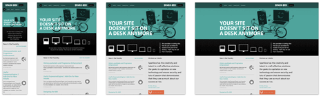 Several screenshots showing the Spark Box site at different browser widths
