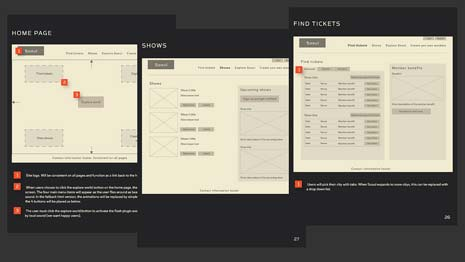 3 wireframe pages for a website