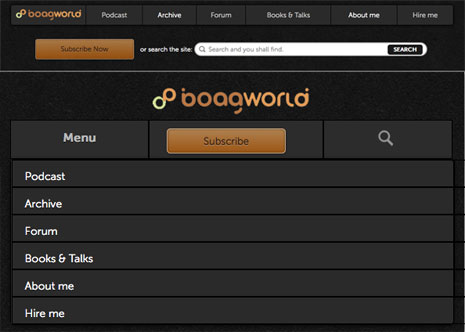 Screenshots from Boagworld site showing the toggle solution to responsive navigation