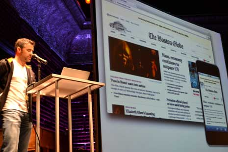 James Pearce showing off The Boston Globe redesign