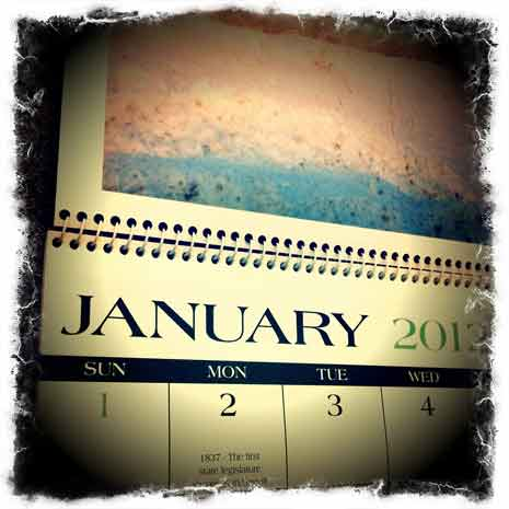 Calendar open to January of 2012